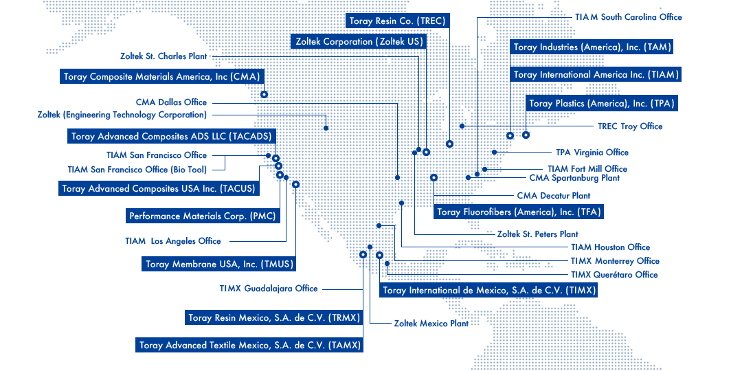 Map Of Toray Group Companies In The Usa